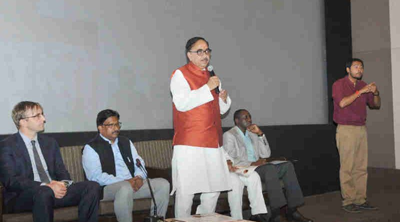 The Minister of State for Human Resource Development, Dr. Mahendra Nath Pandey addressing at the launch of the National Anthem Video in Sign Language, in New Delhi on August 10, 2017.