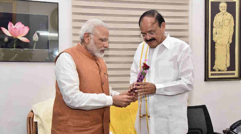 The Prime Minister, Shri Narendra Modi congratulates Shri M. Venkaiah Naidu on being elected India's 13th Vice President, at his residence, in New Delhi on August 05, 2017.
