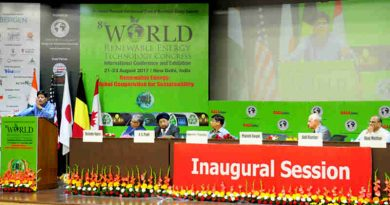 Piyush Goyal addressing at the 8th World Renewable Energy Technology Congress, in New Delhi on August 21, 2017