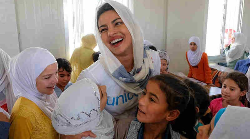 On 11 September 2017, UNICEF Goodwill Ambassador Priyanka Chopra (centre) meets with Syrian refugee students in the fourth grade during her visit to their school in Za'atari refugee camp, Mafraq Governorate, Jordan.