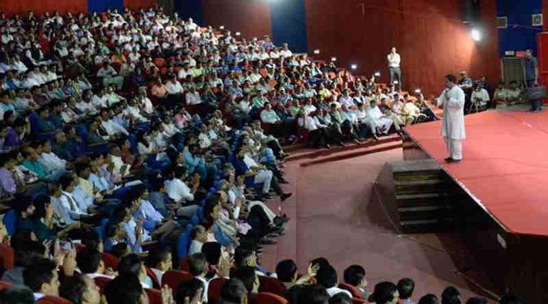 Rahul Gandhi addressing Ahmedabad's teaching community (file photo). Courtesy: Congress