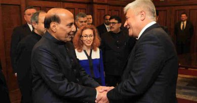 Rajnath Singh meeting the Minister for Internal Affairs of the Russian Federation, Mr. Vladimir Kolokolstsev, in Moscow on November 27, 2017