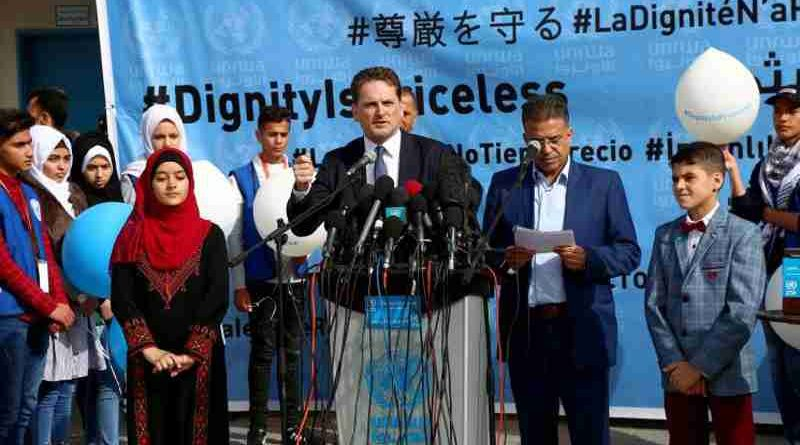 Pierre Krähenbühl, the Commissioner-General of UNRWA, speaks at the launch of the fundraising campaign. UNRWA Photo by Khalil Adwan