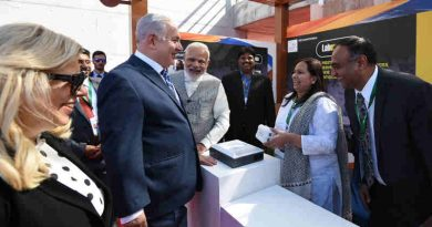 The Prime Minister, Shri Narendra Modi and the Prime Minister of Israel, Mr. Benjamin Netanyahu visiting the Startup Exhibition and interacting with innovators and Startup CEOs at iCreate Center, at Deo Dholera Village, in Ahmedabad, Gujarat on January 17, 2018.
