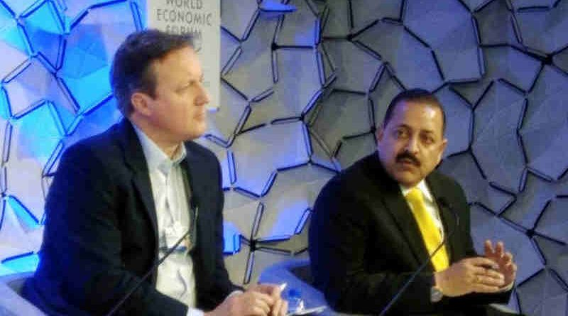 """Dr. Jitendra Singh speaking at a Panel discussion on """"From Fragile Cities to Renewal"""", at World Economic Forum meeting, in Davos, Switzerland on January 23, 2018 . The former UK Prime Minister, Mr. David Cameron is also seen."""