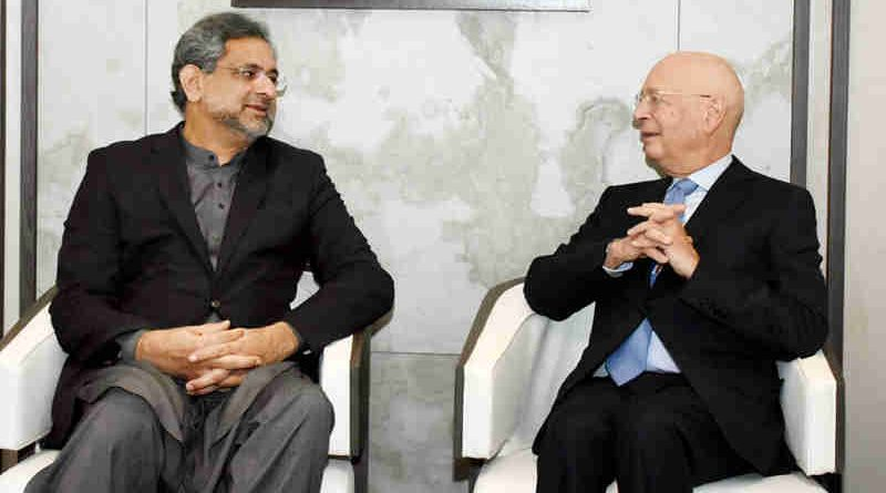 PRIME MINISTER SHAHID KHAQAN ABBASI MEETS FOUNDER AND CHAIRMAN OF THE WORLD ECONOMIC FORUM (WEF) PROFESSOR KLAUS SCHWAB IN DAVOS ON JANUARY 25, 2018.
