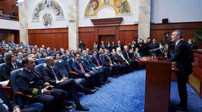NATO Secretary General Jens Stoltenberg addresses the Parliament of the former Yugoslav Republic of Macedonia(1)