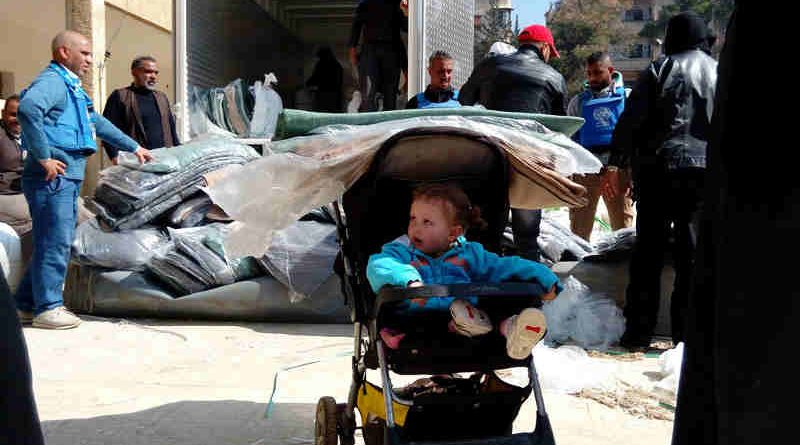 From 21-24 February 2016, UNRWA distributed 19,160 thermal blankets to approximately 5,700 Palestinian refugee and other civilian families from the besieged and hard to reach Syrian communities of Yarmouk, Yalda, Babila and Beit Saham. Photo: UNRWA