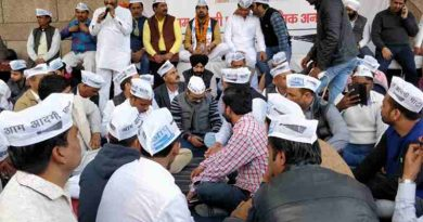 Aam Aadmi Party (AAP) holding a demonstration against the sealing drive in Delhi. Photo: AAP