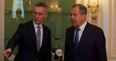 Bilateral meeting between NATO Secretary General Jens Stoltenberg and the Minister of Foreign Affairs of Russia, Sergey Lavrov. Photo: NATO