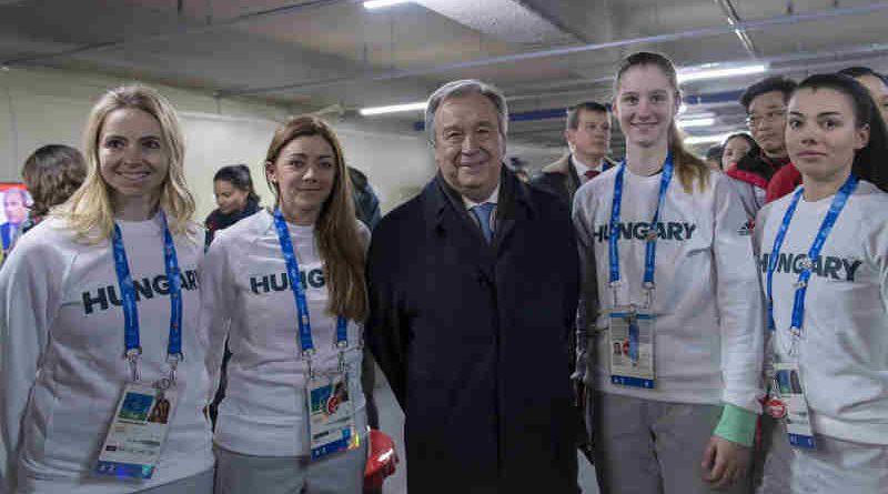 UN Secretary-General António Guterres meets with athletes at the Olympic village. UN Photo / Mark Garten
