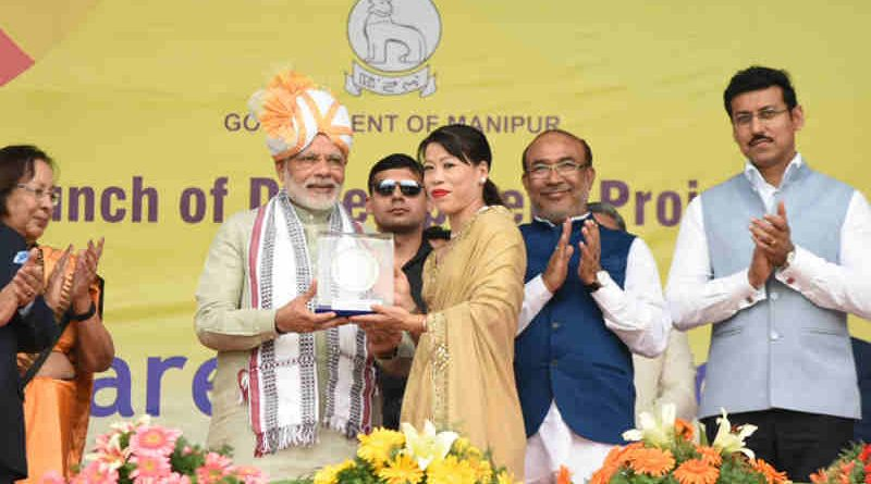 Narendra Modi at the launch of the Development Projects, in Manipur on March 16, 2018