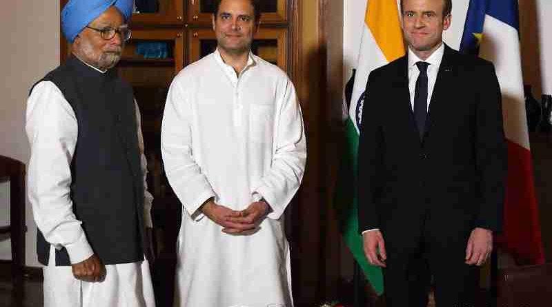 Rahul Gandhi with Manmohan Singh and Emmanuel Macron. Photo courtesy: Rahul Gandhi / Twitter