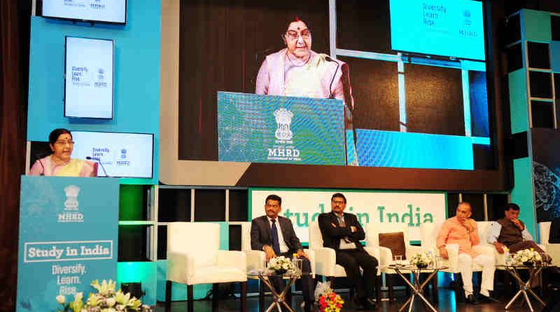 The Union Minister for External Affairs, Smt. Sushma Swaraj addressing at the launch of 'Study in India' Portal, in New Delhi on April 18, 2018.