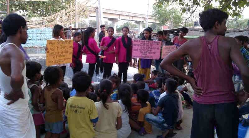 RMN Foundation school team presenting the street play – चमेली की पढ़ाई – which reveals the problems in the education ecosystem. The street play is being shown in the city as well as villages of Delhi.