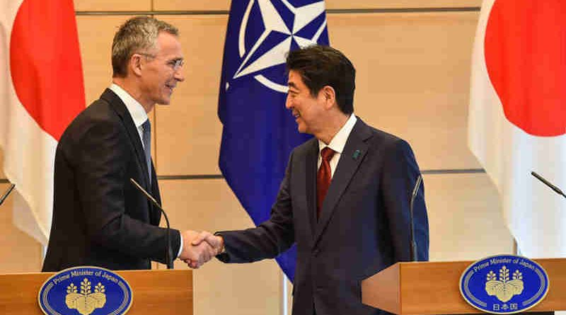 NATO Secretary General Jens Stoltenberg shakes hands with Japanese Prime Minister Shinzo Abe at a joint press conference in Tokyo, 31 October 2017. Photo: NATO (file photo)