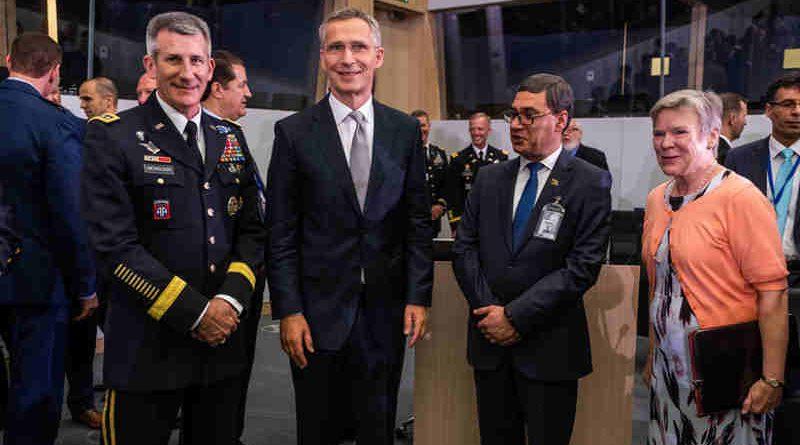 Left to right: General John W. Nicholson (Commander Resolute Support); NATO Secretary General Jens Stoltenberg; Tariq Shah Bahramee (Minister of Defence, Afghanistan); NATO Deputy Secretary General Rose Gottemoeller. Photo: NATO