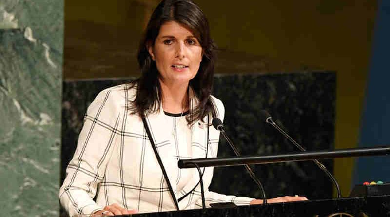 """Ambassador Nikki R. Haley of the United States addresses General Assembly on the """"Illegal Israeli actions in Occupied East Jerusalem and the rest of the Occupied Palestinian Territory"""". UN Photo / Evan Schneider"""