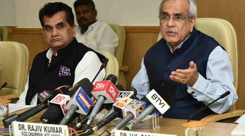 The Vice-Chairman, NITI Aayog, Rajiv Kumar addressing media after the 4th meeting of Governing Council of NITI Aayog, in New Delhi on June 17, 2018. The CEO, NITI Aayog, Amitabh Kant is also seen. (file photo)