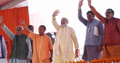 The Prime Minister, Shri Narendra Modi at the foundation stone laying ceremony of Poorvanchal Expressway, in Azamgarh, Uttar Pradesh on July 14, 2018. The Governor of Uttar Pradesh, Shri Ram Naik, the Chief Minister of Uttar Pradesh, Yogi Adityanath and other dignitaries are also seen.