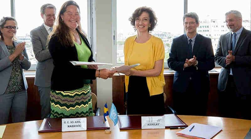 UNESCO Director-General, Audrey Azoulay, and the Permanent Delegate of Sweden to UNESCO, Ambassador Annika Markovic, signed a Programme Cooperation Agreement (PCA). Photo: UNESCO
