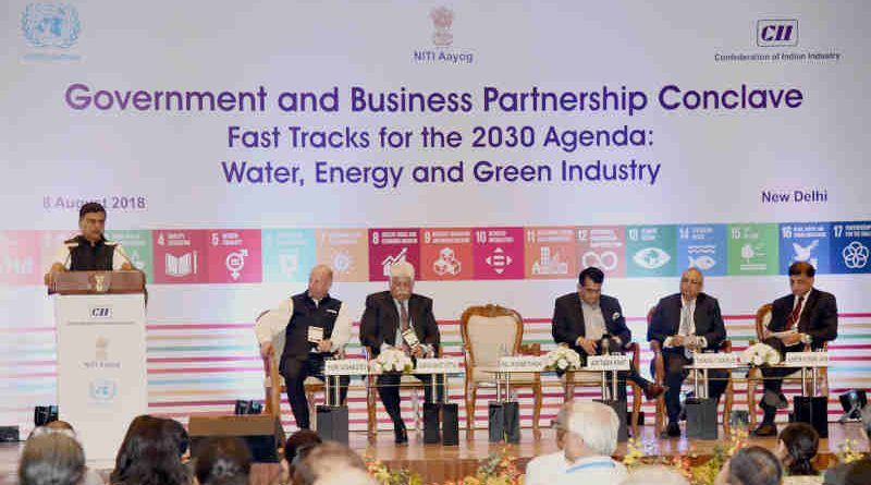 The Minister of State (I/C) for Power and New and Renewable Energy, Shri Raj Kumar Singh addressing at the Government and Business Partnership Conclave on Fast Tracks for the 2030 Agenda: Water, Energy and Green Industry, organised by the NITI Aayog, in New Delhi on August 08, 2018. The CEO, NITI Aayog, Shri Amitabh Kant and other dignitaries are also seen.