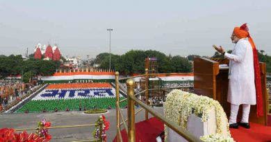 Narendra Modi addressing the Nation on the occasion of 72nd Independence Day from the ramparts of Red Fort, in Delhi on August 15, 2018. Photo: PIB