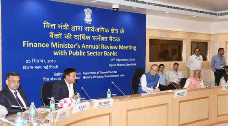 Arun Jaitley chairing the Annual Review Meeting of the CEOs of Public Sector Banks (PSBs), in New Delhi on September 25, 2018