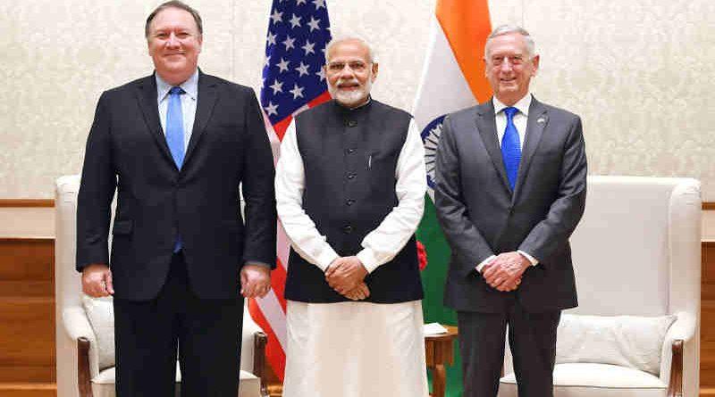Narendra Modi meets the US Secretary of State, Mr. Michael R. Pompeo and the US Secretary of Defence, Mr. James Mattis, in New Delhi on September 06, 2018. Photo: PIB (file photo)