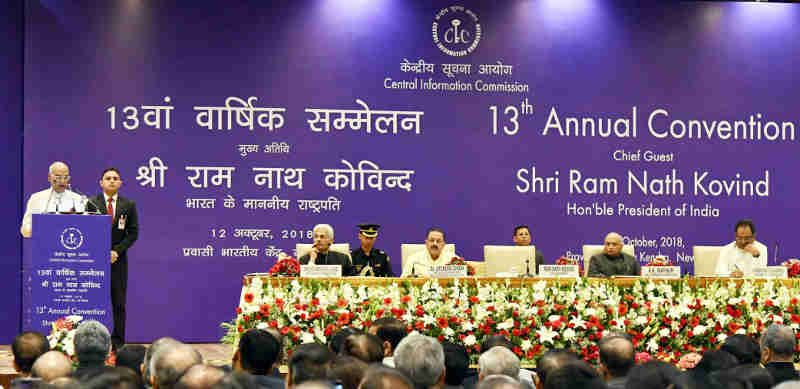 Ram Nath Kovind at the inauguration of the 13th Annual Convention of Central Information Commission (CIC), in New Delhi on October 12, 2018. Photo: PIB