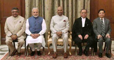 Justice Ranjan Gogoi Chief Justice of India with Prime Minister Narendra Modi and President of India, Ram Nath Kovind. Photo courtesy: Rashtrapati Bhavan