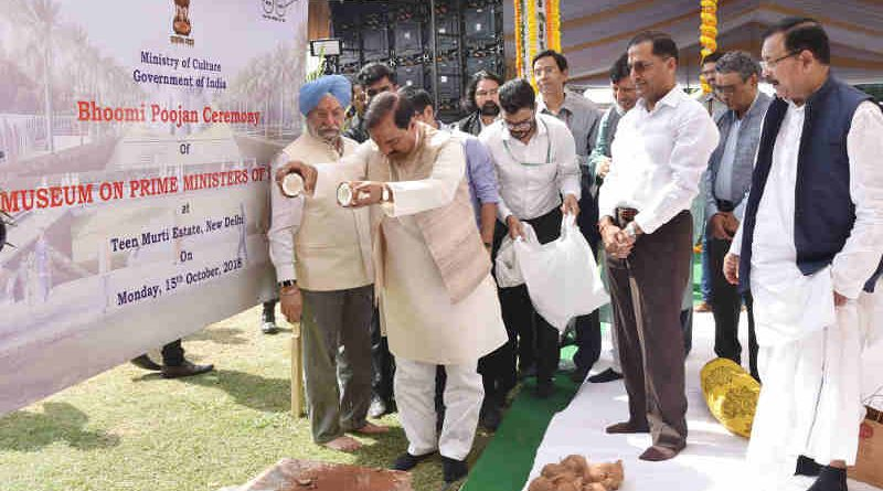 Mahesh Sharma and Hardeep Singh Puri at the Bhoomi Poojan Ceremony of the Museum on the Prime Ministers of India, in New Delhi on October 15, 2018. Photo: PIB