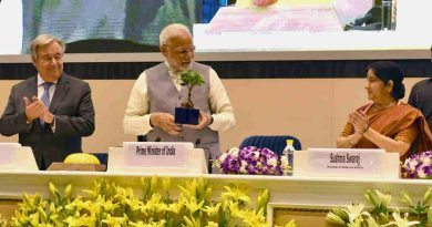 The Prime Minister, Shri Narendra Modi at the inauguration of 1st Assembly of International Solar Alliance (ISA), 2nd IORA Renewable Energy Ministerial Meet & 2nd Global RE-Invest 2018, in New Delhi on October 02, 2018. The Secretary General of the United Nations, Mr. Antonio Guterres and the Union Minister for External Affairs, Smt. Sushma Swaraj are also seen.