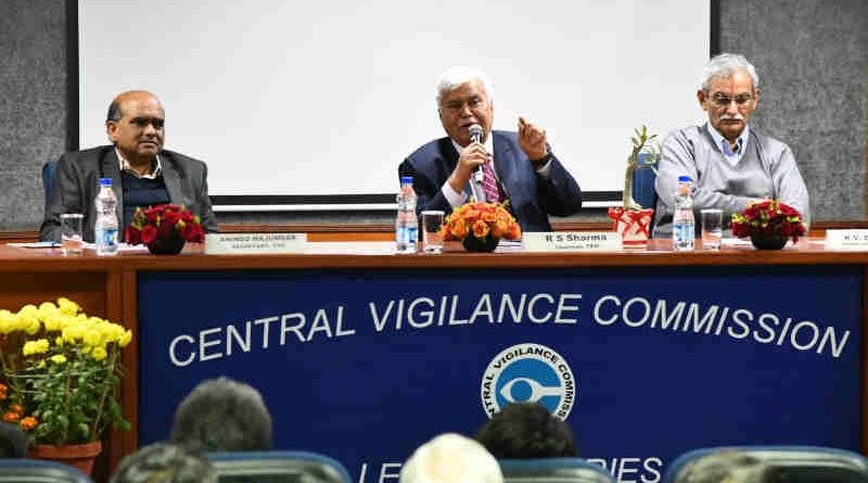 """The Chairman, TRAI, Dr. R.S. Sharma delivering the lecture on the topic """"India's Digital Leapfrog"""", organised by the Central Vigilance Commission (CVC), in New Delhi on December 20, 2018."""