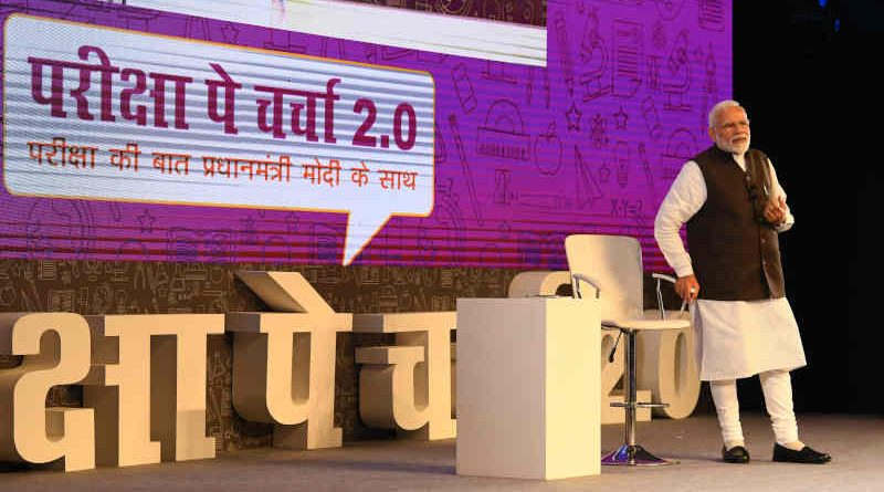 Narendra Modi interacting with school and college students, during the 'Pariksha Par Charcha 2.0', in New Delhi on January 29, 2019. Photo: PIB