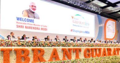 Narendra Modi and other dignitaries at the inaugural session of the 9th Vibrant Gujarat Global Summit, at Mahatma Mandir Exhibition cum Convention Centre, in Gandhinagar, Gujarat on January 18, 2019