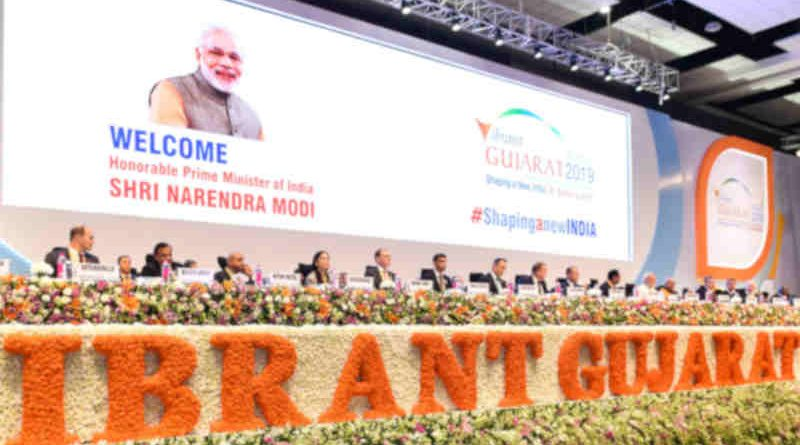Narendra Modi and other dignitaries at the inaugural session of the 9th Vibrant Gujarat Global Summit, at Mahatma Mandir Exhibition cum Convention Centre, in Gandhinagar, Gujarat on January 18, 2019