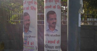 Arvind Kejriwal defaced Delhi with his posters to announce his hunger strike from March 1. But it was a false announcement. Photo: Rakesh Raman / RMN