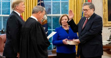 President Donald J. Trump participates in swearing-in of William P. Barr administered by U.S. Supreme Court Chief Justice John Roberts on February 14, 2019. Attorney General Barr's wife, Christine, holds the Bible. Official White House Photo by Tia Dufour