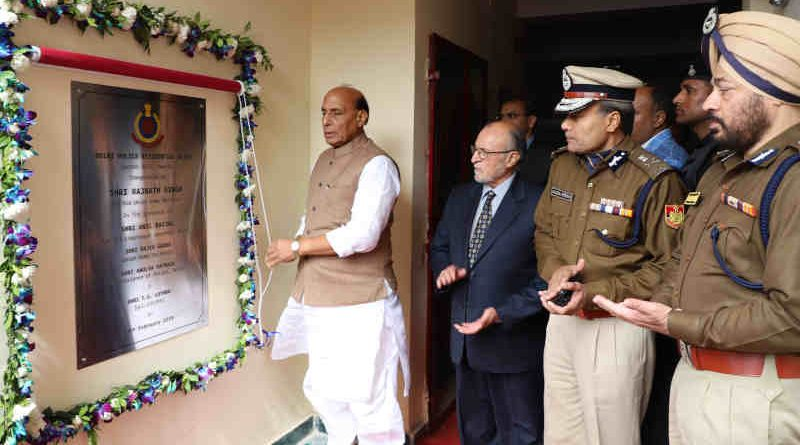 Rajnath Singh unveiling the plaque to inaugurate a Delhi Police Residential Block, in New Delhi on February 18, 2019. The Lt. Governor of Delhi, Anil Baijal, and the Delhi Police Commissioner, Amulya Patnaik are also seen. Photo: PIB