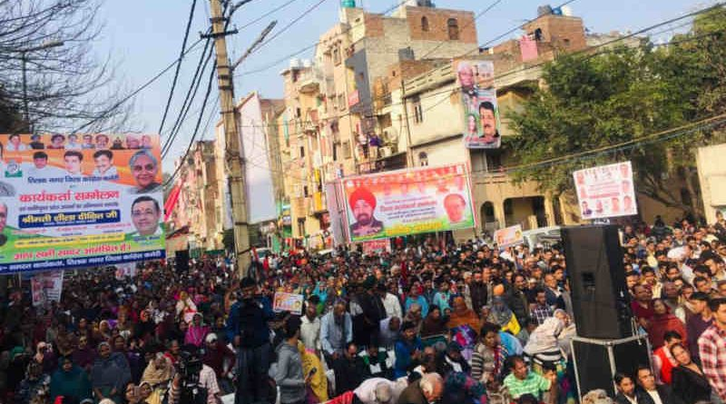 President of the Delhi Pradesh Congress Committee, Sheila Dikshit, holding election campaign in Delhi on February 17, 2019. Photo: Delhi Congress