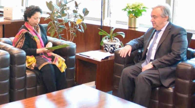 Pakistan's Ambassador at the UN in New York Maleeha Lodhi meeting the UN Secretary General Antonio Guterres on February 20, 2019 to discuss Kashmir issue. (file photo)