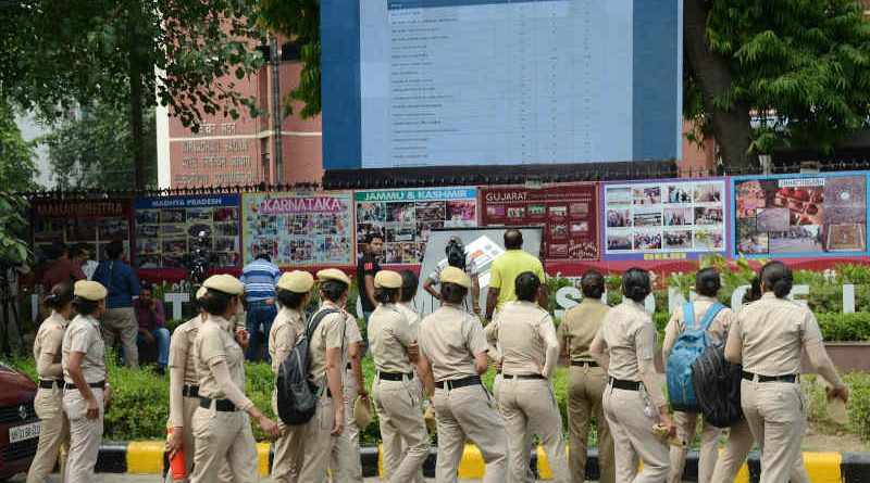 The Electronic Digital Display Board at the office of the Election Commission of India displaying the results of General Election-2019 for the public, at Nirvachan Sadan, in New Delhi on May 23, 2019. Photo: PIB