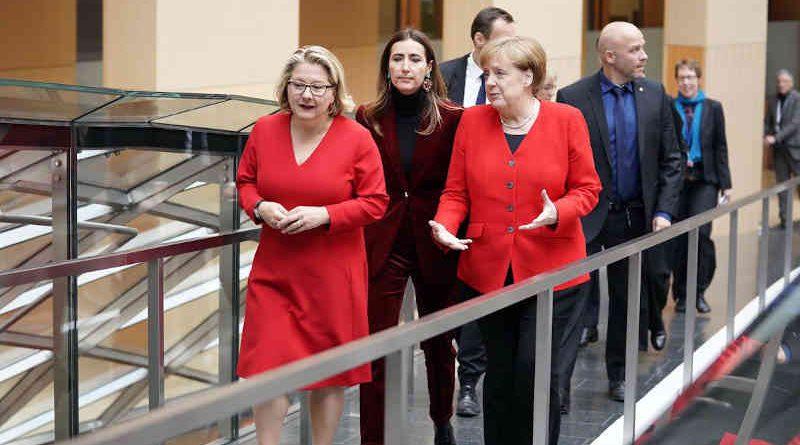 German Chancellor Angela Merkel at the Petersberg Climate Dialogue (PCD). Photo: PCD