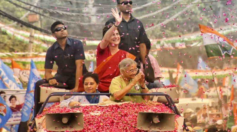 Priyanka Gandhi Holds Road Show in Delhi for Sheila Dikshit