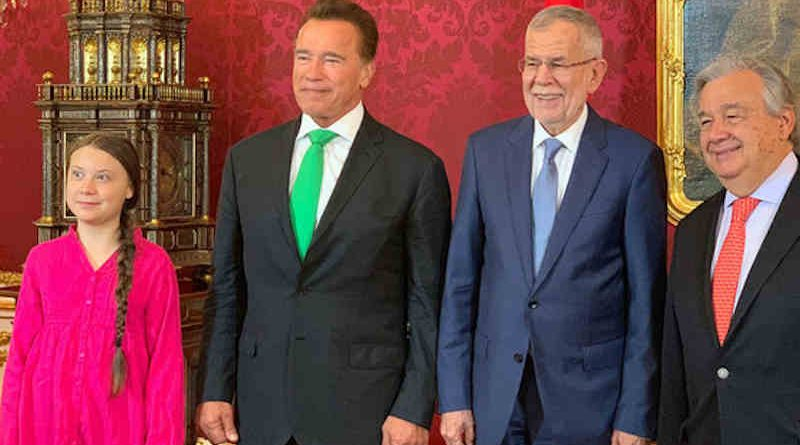 Climate activist, Greta Thunberg (l), former Governor of California, Arnold Schwarzenegger, Austrian President Alexander Van der Bellen and the UN Secretary-General António Guterres (r) meet at the R20 Austria World Summit in Vienna. (28 May 2019). Photo: UN Vienna / Nikoleta Haffar (file photo)