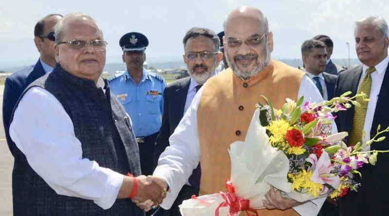 Amit Shah being received by the Governor of Jammu and Kashmir, Shri Satya Pal Malik on his arrival in Srinagar, Jammu and Kashmir on June 26, 2019. Photo: PIB (file photo)