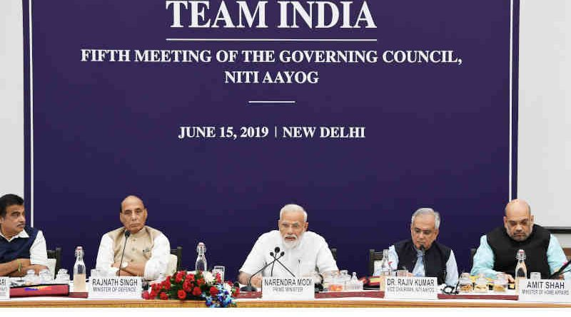 Narendra Modi chairing the fifth meeting of the Governing Council of NITI Aayog, in New Delhi on June 15, 2019. Photo: PIB
