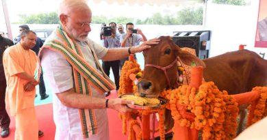 Narendra Modi visits Pashu Vigyan Evam Arogya Mela, in Mathura, Uttar Pradesh on September 11, 2019. The Chief Minister of Uttar Pradesh, Yogi Adityanath is also seen. Photo: PIB (file photo)