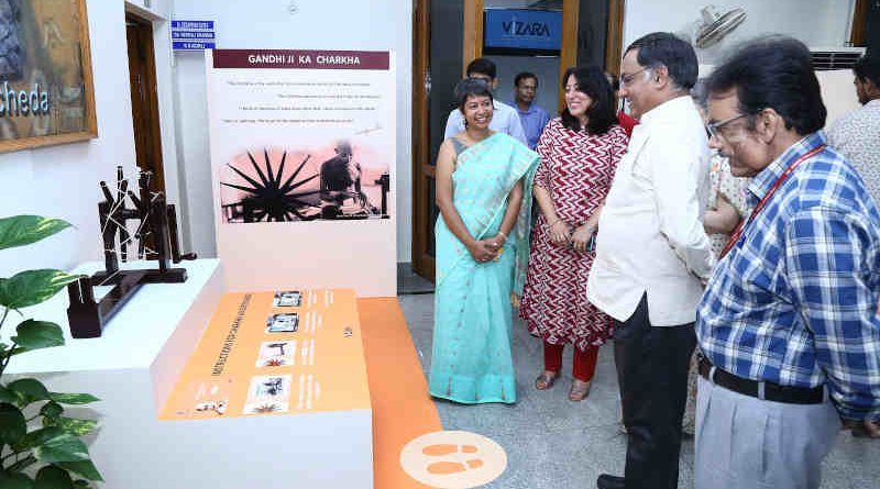 The Secretary, Department of Science and Technology, Prof. Ashutosh Sharma visiting an exhibition on the life of Mahatma Gandhi through virtual reality, on the occasion of the 150th Birth Anniversary of Mahatma Gandhi, in New Delhi on October 02, 2019. Photo: PIB